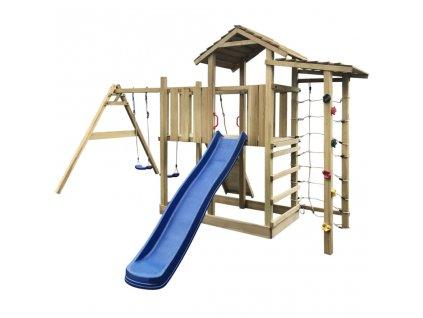 Hrací věž + skluzavka, žebřík a houpačky 516x450x270 cm dřevo