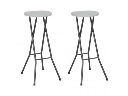 Skládací barové stoličky 2 ks HDPE a ocel bílé