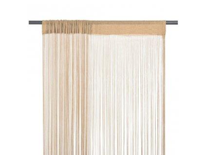 Provázkové záclony, 2 ks, 100x250 cm, béžová