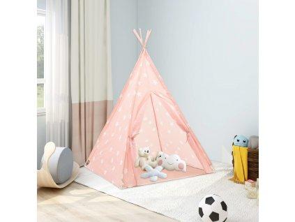Dětské týpí s úložnou taškou polyester růžové 115x115x160 cm