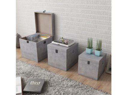 Úložný box beton 3 ks čtvercový šedý MDF