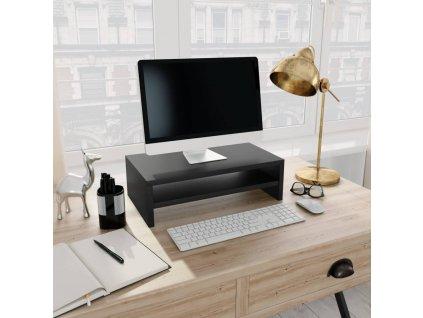 Stojan na monitor černý 42 x 24 x 13 cm dřevotříska