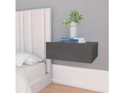 Nástěnný noční stolek šedý vysoký lesk 40x30x15 cm dřevotříska