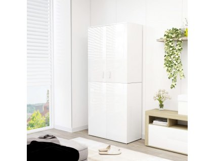 Botník bílý s vysokým leskem 80 x 39 x 178 cm dřevotříska