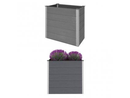 Vyvýšený záhon dřevoplast 100 x 50 x 91 cm šedý