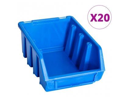 Stohovatelné skladovací zásobníky 20 ks modré plast
