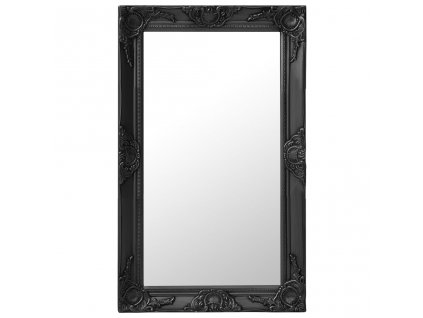 Nástěnné zrcadlo barokní styl 50 x 80 cm černé