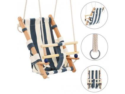 Houpačka pro batolata s bezpečnostním pásem bavlna dřevo modrá