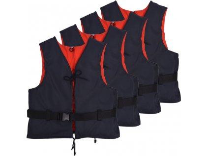 Plovací vesty 4 ks 50 N 30-50 kg námořnická modrá