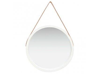 Nástěnné zrcadlo s popruhem 60 cm bílé