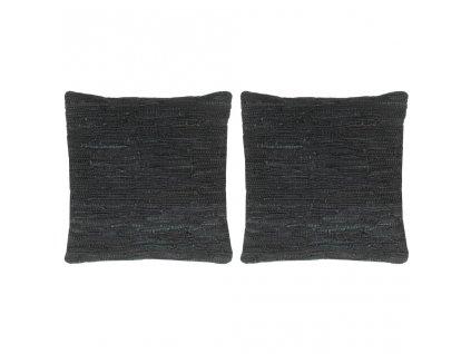 Polštáře 2 ks chindi černé 45 x 45 cm kůže a bavlna