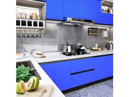 Samolepící tapeta na nábytek modrá vysoký lesk 500 x 90 cm PVC