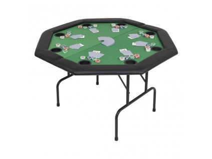 Skládací pokerový stůl pro 8 hráčů 2 díly osmihranný zelený