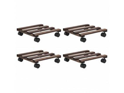 Vozíky pod květináče z cedrového dřeva 4 ks 25 x 25 cm