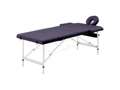 Skládací masážní stůl 2 zóny hliník nachový