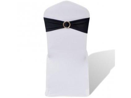 25 ks černá natahovací šerpa na židle s diamantovou přezkou