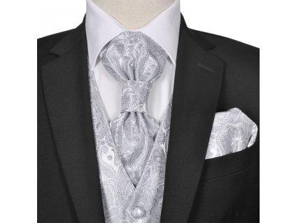 Pánská paisley svatební vesta a doplňky velikost 48 stříbrná