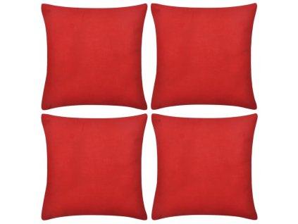 4 červené povlaky na polštářky bavlněné 80 x 80 cm