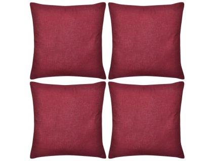 Povlaky na polštářky 4 ks bavlna 50 x 50 cm vínové