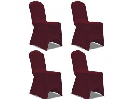 Strečové potahy na židle 4 ks vínové