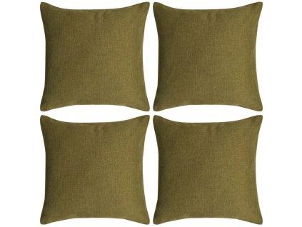 Povlaky na polštářek 4 ks, se vzhledem lnu zelené 80x80 cm