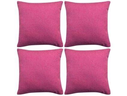 Povlaky na polštářek 4 ks, se vzhledem lnu růžové 40x40 cm