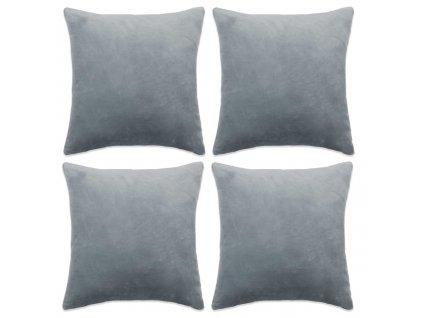 Povlaky na polštář 4 ks velur, 40 x 40 cm, šedé
