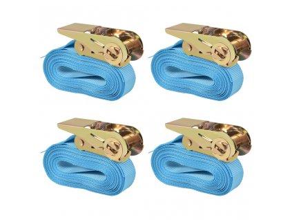 Ráčnové upínací pásy 4 ks 0,8 tun 6m x 25mm modré
