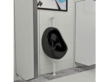 Závěsný pisoár se splachovacím ventilem keramický černý