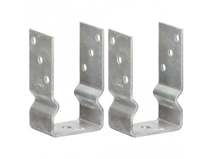 Plotové kotvy 2 ks stříbrné 8 x 6 x 15 cm pozinkovaná ocel