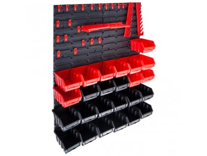 29dílná sada skladovacích zásobníků nástěnné díly červenočerná