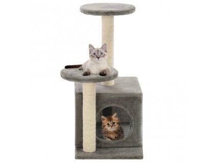 Škrabadlo pro kočky se sisalovými sloupky 60 cm šedé