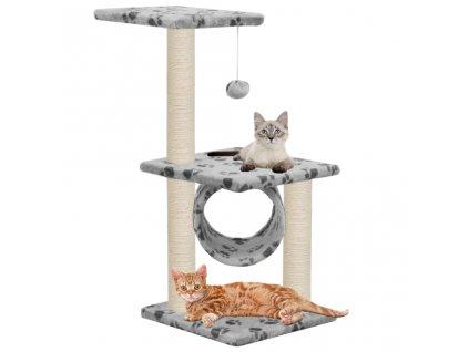 Škrabadlo pro kočky sisalové sloupky 65 cm šedé s potiskem