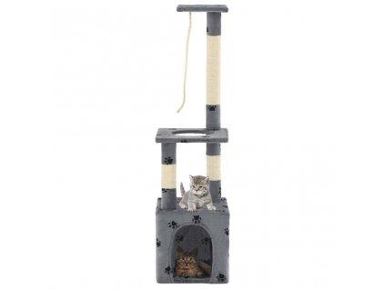 Škrabadlo pro kočky sisalové sloupky 109 cm šedé s tlapkami