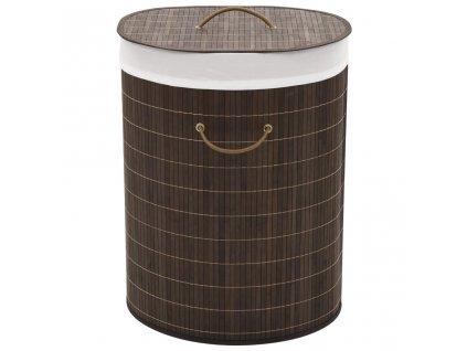 Bambusový koš na prádlo oválný tmavě hnědý