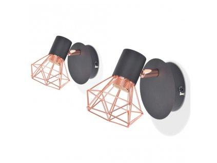 Nástěnná lampa 2 ks E14 černá a měď