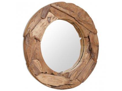 Dekorativní zrcadlo, kulaté, teak, 80 cm