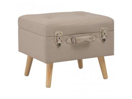 Stolička s úložným prostorem 40 cm béžová textil