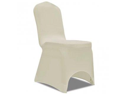 Strečové potahy na židle, 100 ks, krémová