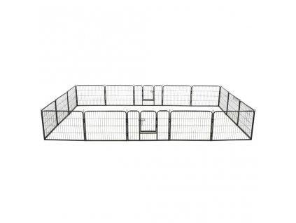 Ohrádka pro psy 16 panelů ocelová 60 x 80 cm černá