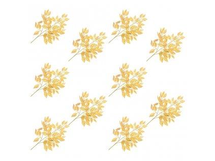 Umělé listy fíkus 10 ks zlaté 65 cm