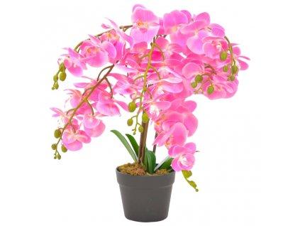 Umělá rostlina orchidej s květináčem růžová 60 cm