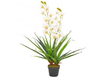 Umělá rostlina orchidej s květináčem bílá 90 cm