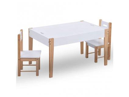 3dílná sada dětského tabulového stolu a židlí černobílá
