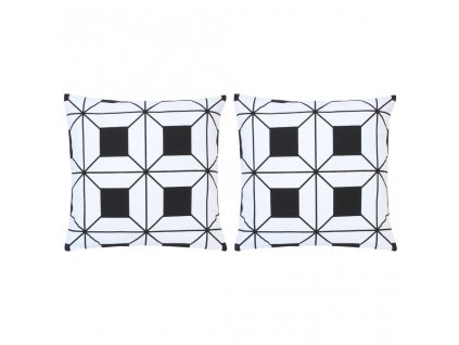 Polštáře s potiskem 2 ks černobílé 40 x 40 cm bavlna