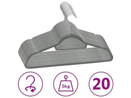 20 ks šatních ramínek protiskluzové šedé samet