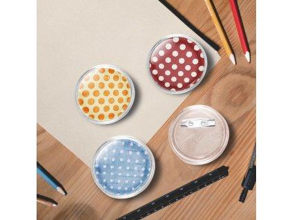 Placky se špendlíky 100 setů akryl 37 mm