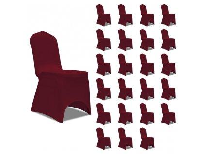 Potahy na židle napínací vínové 24 ks