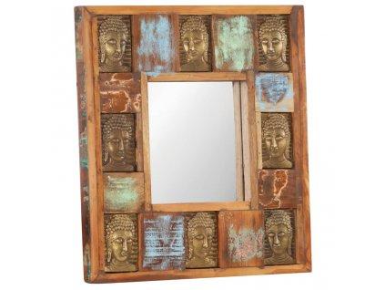 Zrcadlo s reliéfy Buddhy 50 x 50 cm masivní recyklované dřevo