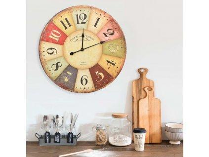 Vintage nástěnné hodiny barevné 60 cm